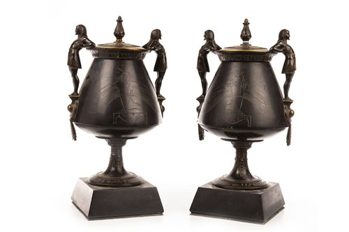 Lot 1824-A PAIR OF VICTORIAN BRONZE GARNITURE VASES