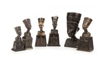 Lot 1827-A CAST BRONZE BUST OF NEFERTITI AND FIVE SMALLER BUSTS