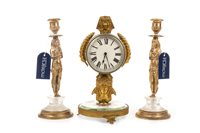 Lot 1830-A GILT METAL MANTEL CLOCK AND A PAIR OF CANDLESTICKS