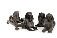 Lot 1834-A VICTORIAN CAST IRON SPHINX DOOR STOP AND OTHER SPHINX FIGURES