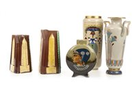 Lot 1852-A SARREGUEMINES VASE AND OTHER CERAMICS