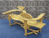 Lot 1739-AN OAK LOVE SEAT (KISSING SEAT) BY MATTHEW BURT