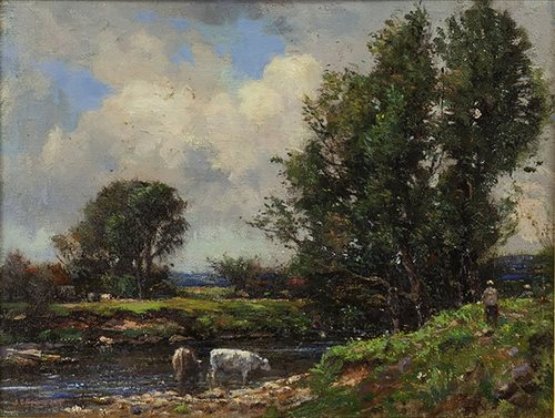 Lot 428 - CATTLE WATERING, BY JAMES CHRISTIE PROWETT