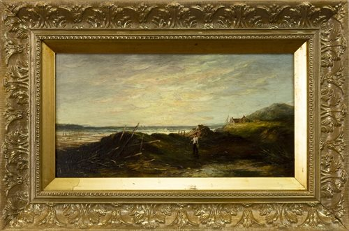 Lot 430-SHORE SCENE WITH A SHRIMP FISHERMAN, AN OIL BY SAMUEL BOUGH