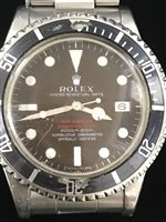 Lot 755-A RARE ROLEX DOUBLE RED SEA-DWELLER SUBMARINER