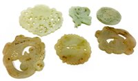 Lot 1042-PAIR OF 20TH CENTURY CHINESE JADE AMULETS AND FOUR OTHERS