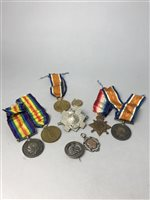 Lot 8-A LOT OF THREE WWI MEDALS, TWO WWI MEDALS AND OTHER OBJECTS