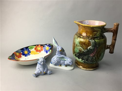 Lot 25-A HEREND HENGARY RABBIT GROUP AND BEAR ALONG WITH OTHER CERAMICS