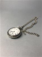 Lot 38-A SILVER POCKET WATCH, ALBERT CHAIN AND T-BAR