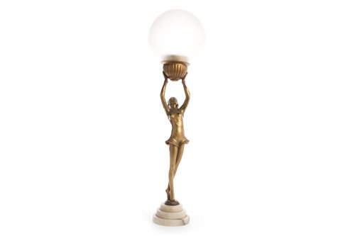 Lot 1651-AN ART DECO GILT SPELTER FIGURAL TABLE LAMP