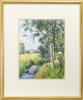 Lot 435-STREAM WITH BIRCH TREE AT ASHLEY BRIDGE (BALLIBURTON), A WATERCOLOUR BY JAMES MCINTOSH PATRICK