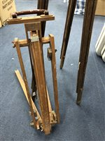 Lot 54-A LOT OF TWO WOODEN EASELS AND VARIOUS TOOLS