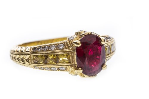 Lot 7-A CERTIFICATED ORNATE SPINEL, YELLOW SAPPHIRE AND DIAMOND RING