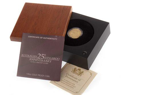 Lot 528 - AN AUSTRALIAN KANGAROO 25TH ANNIVERSARY GOLD PROOF COIN