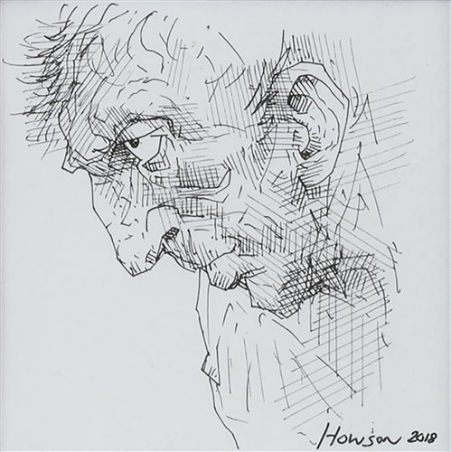 Lot 20-PORTRAIT OF A MAN, AN INK SKETCH BY PETER HOWSON