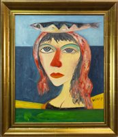 Lot 9-NORTH SEA MAIDEN, AN OIL ON CANVAS BY JOHN BELLANY