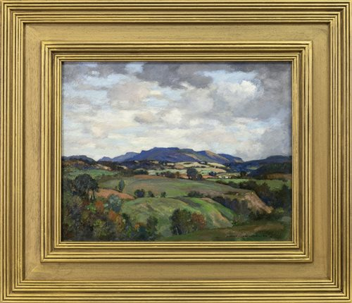 Lot 437 - CAMPSIE FELLS, AN OIL ON PANEL BY JAMES WHITELAW HAMILTON