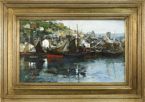 Lot 438-ST IVES, AN OIL ON CANVAS BY JOHN ROBERTSON REID