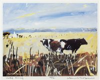 Lot 52-CATTLE, ARISAIG, A LIMITED EDITION LITHOGRAPHIC PRINT BY HAMISH MACDONALD