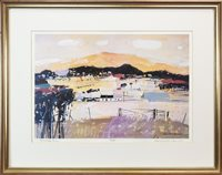 Lot 54-FARM GATE, ARRAN, A LIMITED EDITION LITHOGRAPHIC PRINT BY HAMISH MACDONALD