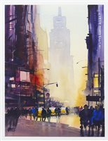 Lot 67-TIMES SQUARE, NEW YORK, A WATERCOLOUR BY MARTIN OATES