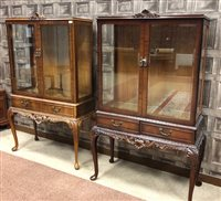 Lot 909-A PAIR OF MAHOGANY DISPLAY CABINETS