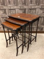 Lot 910-A NEST OF THREE SHERATON REVIVAL MAHOGANY OCCASIONAL TABLES
