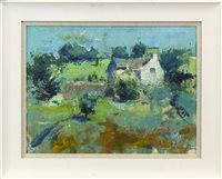 Lot 59-SUMMER COTTAGE, AN OIL ON BOARD BY ANDREW HOOD