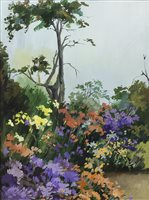 Lot 60-FLORAL GARDEN, AN OIL ON PAPER BY LARA BADEN