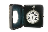 Lot 809-AN EDWARDIAN SILVER FRAMED TRAVELLING TIMEPIECE