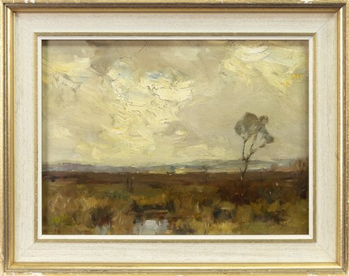 Lot 443-HIGHLAND LANDSCAPE, AN OIL ON BOARD BY WILLIAM MILLER FRAZER