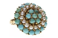 Lot 56-A TURQUOISE AND PEARL DRESS RING