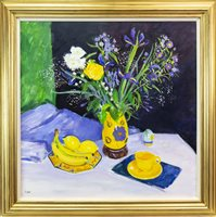 Lot 6-STILL LIFE AND YELLOW CUP, AN OIL ON CANVAS BY NORMAN EDGAR