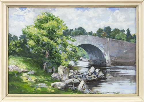 Lot 464-LACKAGH BRIDGE, AN OIL ON BOARD BY HUGH CAMERON WILSON