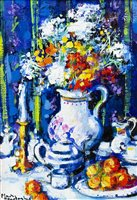 Lot 63-STILL LIFE, AN OIL ON BOARD BY MARY GALLAGHER
