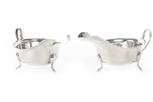 Lot 805-A PAIR OF SILVER SAUCE BOATS