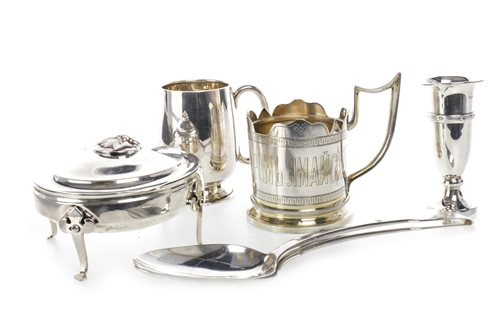 Lot 806-AN EDWARDIAN SILVER TRINKET BOX, TWO SILVER CUPS, A SILVER SOLIFLEUR VASE AND TWO SILVER TABLESPOONS