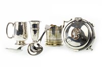 Lot 806 - AN EDWARDIAN SILVER TRINKET BOX, TWO SILVER CUPS, A SILVER SOLIFLEUR VASE AND TWO SILVER TABLESPOONS