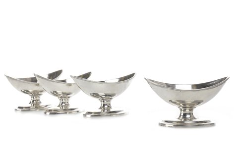 Lot 807 - A LOT OF FOUR GEORGE III SCOTTISH SILVER SALT DISHES