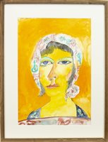 Lot 534-MAIDEN IN A BONNET, A WATERCOLOUR BY JOHN BELLANY