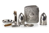 Lot 822 - A PAIR OF SILVER SALT AND PEPPER SHAKERS, CIGARETTE CASE, TWO VESTA CASES, AND MATCHBOX HOLDER