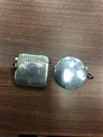 Lot 822-A PAIR OF SILVER SALT AND PEPPER SHAKERS, CIGARETTE CASE, TWO VESTA CASES, AND MATCHBOX HOLDER