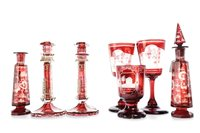 Lot 1202-A LOT OF MID-19TH CENTURY BAVARIAN RUBY GLASS WARE