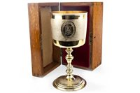 Lot 813 - A PAIR OF VICTORIAN SILVER COMMEMORATIVE GILT GOBLETS