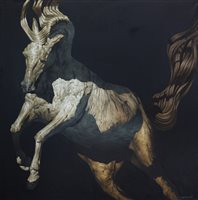 Lot 73-THE HORSE PAINTER, AN OIL ON CANVAS BY HUW WILLIAMS