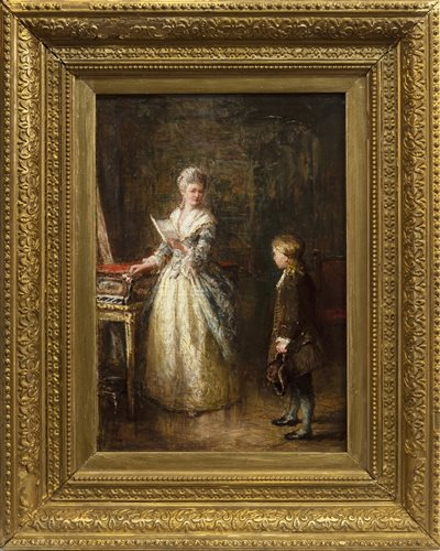 Lot 457-THE MUSIC LESSON, AN OIL BY THOMAS FAED