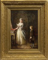 Lot 457 - THE MUSIC LESSON, AN OIL BY THOMAS FAED