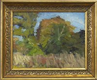 Lot 485-TREES AT KINROSS, AN OIL ON BOARD BY MARGARET MORRIS
