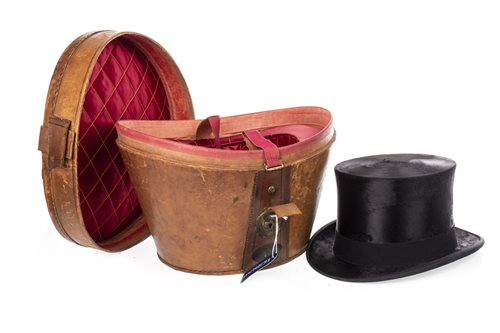 Lot 921-A BLACK SILK TOP HAT IN LEATHER CASE
