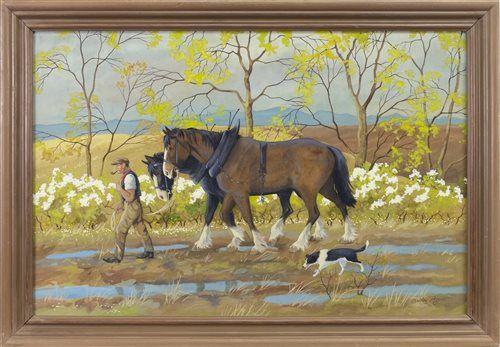 Lot 462-TWO CLYDESTALES AND A BORDER COLLIE, A WATERCOLOUR AND GOUACHE BY RALSTON GUDGEON